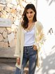 Apricot Paneled Plain Casual Outerwear