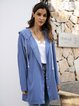 Blue Cotton-Blend Long Sleeve Paneled Plain Outerwear