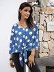 Blue Cotton-Blend Paneled Holiday Shirts & Tops