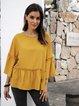 Yellow Cotton-Blend Ruffled Crew Neck 3/4 Sleeve Shirts & Tops