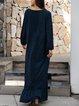Deep Blue Plain Paneled Long Sleeve Dresses