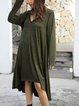Green Long Sleeve Paneled Plain V Neck Dresses