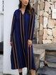 Blue Long Sleeve Cotton-Blend V Neck Dresses