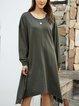 Green Cotton-Blend Long Sleeve Crew Neck Dresses