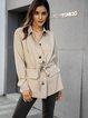 Khaki Plain Pockets Shawl Collar Long Sleeve Outerwear