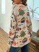 V-neck plus print woolen casual top