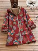 Retro hooded zipper open placket printed warm loose coat