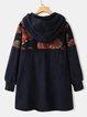 Retro hooded warm stitching ethnic cardigan jacket