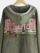 Vintage hooded oil painting printed corduroy cardigan