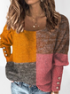 Rose Red Color-Block Long Sleeve Cotton-Blend Round Neck Sweater