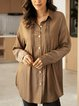 Coffee Shawl Collar Casual Cotton-Blend Shirts & Tops