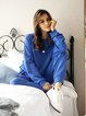 Royal Blue Paneled Plain Casual Suits