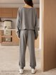 Gray Cotton-Blend Plain Casual Crew Neck Suits