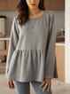Gray Paneled Long Sleeve Plain Crew Neck Shirts & Tops