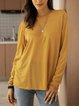 Yellow Crew Neck Long Sleeve Cotton-Blend Shirts & Tops