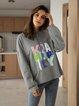 Gray Cotton-Blend Paneled Long Sleeve Hoodie Shirts & Tops