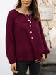 Wine Red Long Sleeve V Neck Shirts & Tops