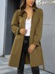 Khaki Holiday Long Sleeve Shawl Collar Trench Coats