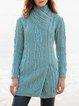 Light Blue Cotton-Blend Shift Vintage Outerwear