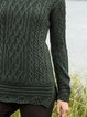Olive Green Cotton-Blend Casual Sweater