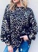 Leopard Shift Long Sleeve Cotton-Blend Leopard Sweater
