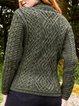Green Long Sleeve Shift Cotton-Blend Jacquard Sweater