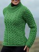 Green Long Sleeve Jacquard Shift Sweater