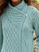 Light Blue Long Sleeve Cotton-Blend Vintage Outerwear