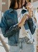 Blue Denim Long Sleeve Shawl Collar Outerwear