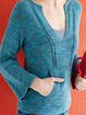 Royal Blue V Neck Shift Long Sleeve Plain Sweater