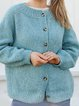 Blue Cotton-Blend Long Sleeve Sweater