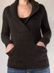 Brown V Neck Casual Sweater