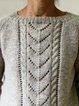 Gray Cotton-Blend Shift Long Sleeve Sweater