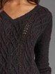 Gray Long Sleeve Cotton-Blend Jacquard Sweater