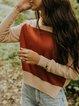 Wine Red Shift Long Sleeve Plain Sweater