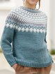 Grey-Blue Casual Long Sleeve Cotton-Blend Sweater