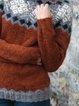Multicolor Cotton-Blend Casual Tribal Shift Sweater