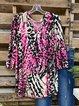 Multicolor Casual Cotton-Blend Leopard Shirts & Tops