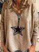 Gray V Neck Long Sleeve Printed Shirts & Tops
