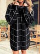 Fall And Winter Casual Knit Two Lapel Checkerboard Sweaters
