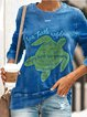 Vintage Plus Size Long Sleeve Crew Neck Statement Letter Printed Casual Tops