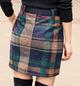 Blue Cotton-Blend Sweet Plaid A-Line Skirts
