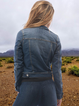 Solid Color Cropped Button Denim Jacket