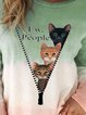 Vintage Color-block Plus Size Long Sleeve Crew Neck Statement Cats Letter Printed Casual Tops