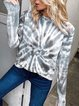 A Tie-Dyed Long-Sleeve Sweater With A Round Neck Hoodie