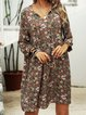 Fuchsia V Neck Paneled Boho Geometric Dresses