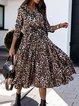 Long-Sleeved V-Neck Fashionable Floral Dress