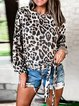 New Belted Leopard Print Round Bottom Blouse For Women With Long Sleeves
