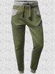 Green Casual Cotton-Blend Pants