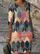 Pink Short Sleeve Geometric V Neck Dresses